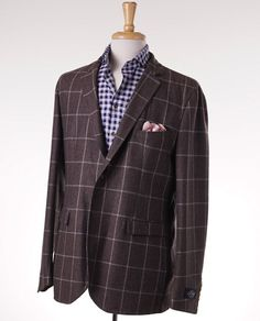 NWT $1875 BELVEST Cocoa Brown Windowpane Unstructured Wool Sport Coat 46 R