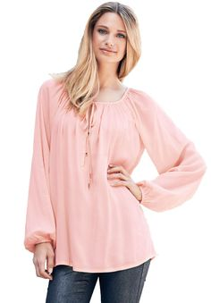 Plus Size Peasant blouse tunic with shirred neck and front tie