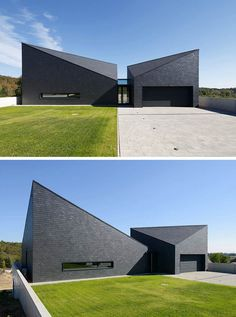 This black modern home has a futuristic look to it thanks to the angles created where the roof of the house meets the sides.