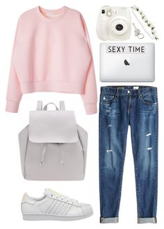 """""""College outfits #10"""" by wheniwasdreamingg ❤ liked on Polyvore featuring AG Adriano Goldschmied, adidas, Fuji, Rosanna and Paul Smith"""