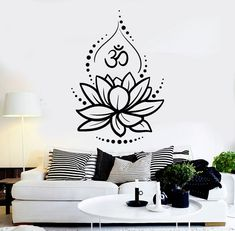design Quotes Bible Verses is part of - Details about Vinyl Wall Decal Lotus Flower Yoga Hinduism Hindu Om Symbol Stickers Simple Wall Paintings, Wall Painting Decor, Wall Decor, Vinyl Wall Decals, Wall Stickers, Lotus Design, Mandala Tattoo Design, Lotus Tattoo, Wall Drawing