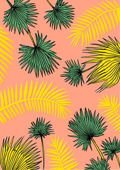 MINTY WARES | Playful graphic print and pattern design. Palm leaves on pink…