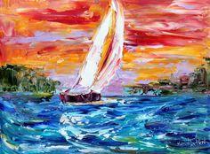 Original Evening Sailboat ocean Boat modern palette knife painting impressionism oil on canvas fine art by Karen Tarlton. $128.00, via Etsy.
