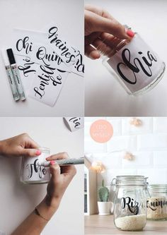 DIY Storage jar! Customize a recycled glass jar with a cute typography to store your bulk rice, quinoa or what your like! And avoid all the paper boxes in your kitchen! ---- DIY bocaux. Customisez vos bocaux à confiture en de joli bocaux pour contenir vos produits vrac. Fini les boites en carton dans votre cuisine! Retrouvez tout mes DIY sur www.idoitmyself.be