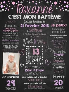 Vous désirez souligner le baptême de votre enfant de façon simple? Notre affiche de baptême personnalisée Pluie de confettis est le choix tout désigné! Cadeau Parents, Communion, Kids And Parenting, First Birthdays, Chalkboard, Baby Shower, Scrapbook, Simple, Photo Rose