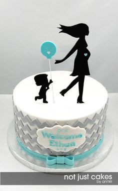 Chevron and Balloon Baby Shower Cake - by NotJustCakesByAnnie @ CakesDecor.com - cake decorating website
