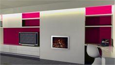 Wit tv meubel met roze accentwand en haardvuur