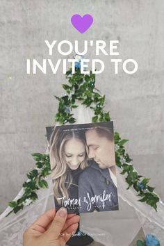 Love this modern rustic style! Didn't think a selfie would work so good as a wedding invite!