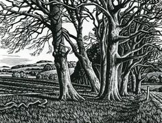 Howard Phipps, Clearbury Ring From Homington Down, Wood engraving