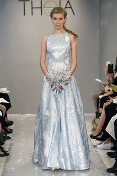 Theia, Fall 2015...Beautiful, love the fabric & color. A simple silhouette with 'beautiful' fabric. Try different fabric & embellishments ideas to fit your wedding theme. Ask your seamstress for fabric suggestions.