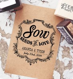 You can create your own seed packets for a wedding and personalize it with a rubber stamp.  Encourage your guests to Sow Seeds of Love! Let Love Grow Rubber Stamp, Vintage Wedding Stamp, Wedding Seed Packets.