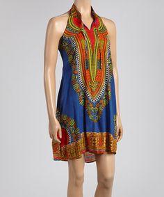 Love this Advance Apparels Blue & Orange Halter Dress by Advance Apparels on #zulily! #zulilyfinds