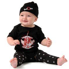 Zootie Baby Boys Rock N Roll Onesie Outfit Leg Warmers & Hat