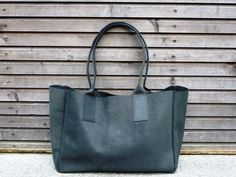 Vintage look waxed leather bag  in black COLLECTION UNISEX. $248.00, via Etsy.