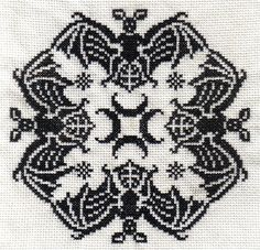 Bats- free chart!  It is under the Square Motifs category on page 2 of three pages.  For some reason, the link will not work so do a Google search for empty aunts attic cross stitch.  The first search will have the name Tandes Zolders in the web address.