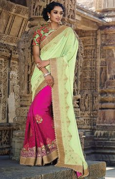 Pink Net Saree For Wedding Occasions