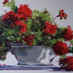 Afternoon Geraniums by Sandy Strohschein Acrylic ~ 16 x 20 Watercolor Artists, Watercolor Flowers, Watercolor Paintings, Watercolours, Geranium Plant, Red Geraniums, Gifts For An Artist, Arte Floral, Texture Art