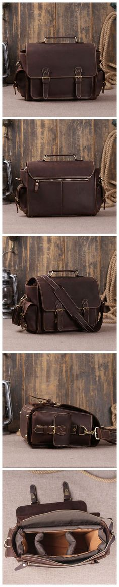 We use selected thick genuine cow leather, quality hardware and nylon fabric to make the bag as good as it is. The inside padded insert bag can fit one camera body with attached lens and two extra lenses.