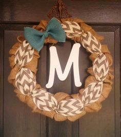 Burlap Wreath with Gray Chevron Burlap and Teal Burlap Bow- Front Door Wreath- Monogram Wreath-Wedding Decoration- Wedding Gift- on Etsy, $49.95