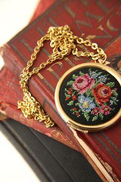 On my list: AVON Needlepoint Locket Necklace . 70s.