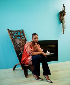 Malene Barnett's Carpets & Interior Decorating INSPIRED by AFRICA   |  Pictured:  Malene at home and some of her African finds (via The Selby)...Malene Barnett's custom handmade carpets are inspired by her international travels, love of all things cultural and her African-Caribbean heritage.