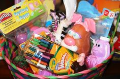 Easter Basket ideas:  Craft items like play dough, modeling clay, watercolors, crayons, markers, colored pencils  Fun things like face paint, fake tattoos, stickers, glittery lotions  Go green with seeds for planting, a plastic spade, a miniature watering can, and gardening gloves (Find more tips for natural, homemade Easter Baskets HERE.)  Learning resources such as activity books, counting games, Dominoes, and flash cards