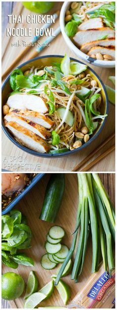 Fresh and vibrant Thai Chicken Noodle Bowl with Peanut Sauce! Loaded with veggies, and kissed with peanut sauce, these noodle bowls make a marvelous dinner Thai Chicken Noodles, Rice Noodles, Zucchini Noodles, Bo Bun, Asian Recipes, Healthy Recipes, Asian Cooking, Soup And Salad, Peanut Sauce