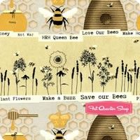 Save Our Bees Beige Novelty Stripe Yardage SKU# 3958-44