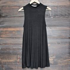 BSIC - boho striped womens tank mini dress - black