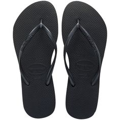 Women's Black Slim Flip Flop - Free Shipping at Havaianas (86 BRL) ❤ liked on Polyvore featuring shoes, sandals, flip flops, havaianas shoes, slim shoes, kohl shoes, wide fit sandals and wide width flip flops