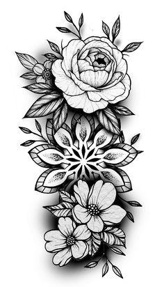 Tatuaje Mandala Floral, Mandala Tattoo Sleeve, Mandala Flower Tattoos, Flower Tattoo Drawings, Tattoo Design Drawings, Tattoo Sketches, Geometric Flower Tattoos, Paisley Tattoos, Mandala Rose