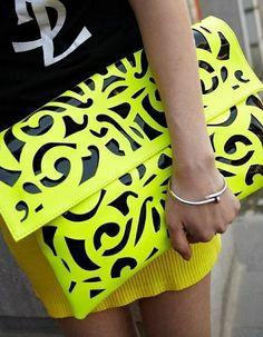 Please FOLLOW ME if you like my pins! Neon yellow clutches #purses #handbags diy #handbags and purses #handbags 2013 # trended handbags #fashion #slingbag #belk #stylish Bag Accessories, Clutch Bags, Envelope Clutch, Clutch Handbags, Neon Clutch, Yellow Clutch, Floral Clutches, Neon Yellow, Yellow Black