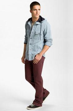 BOSS Orange Hooded Shirt, Alternative Shirt & Joe's Straight Leg Jeans #men #style