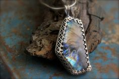 Labradorite Stone set in Etched Sterling by RoseMetalsJewelry, $155.00