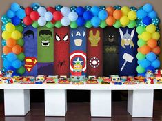 Josiah's avengers party Iron Man Birthday, Superman Birthday, Avengers Birthday, Boy Birthday, Birthday Ideas, Avenger Party, Spider Man Party, Avengers Party Decorations, Birthday Party Decorations