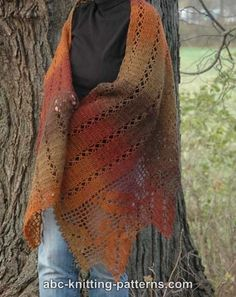 ABC Knitting Patterns - Autumn Leaves Filet Crochet Shawl.