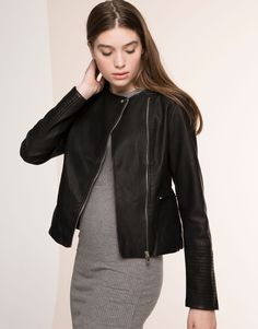 FAUX LEATHER JACKET - JACKETS & BLAZERS - WOMAN - PULL&BEAR Albania