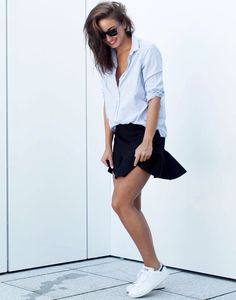 black mini skirt and sneakers