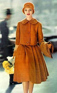 Bolero jacket and full skirt in lovely rust color for fall with matching cloche hat...perfect.