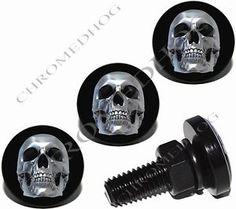 4-Black-Billet-Aluminum-License-Plate-Frame-Lic-Fastener-Bolts-Chrome-Skull