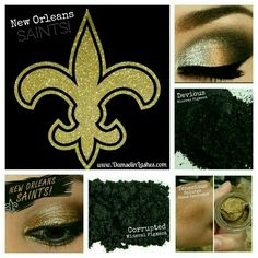 Check out this gorgeous New Orleans Saints makeup look! You can get this look with all Younique products! Devious Mineral Eyeshadow Pigment, Corrupted Mineral Eyeshadow Pigment, & Tenacious Splurge Cream Eyeshadow. You can get all of these products from www.DamselinLashes.com