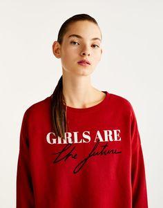 Pull&Bear - femme - nouveautés - sweat inscription girls - rouge sombre - 09593367-I2017