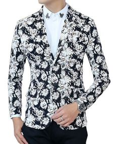 Sport this cool, classic floral design blazer with black slacks for an excellent evening!