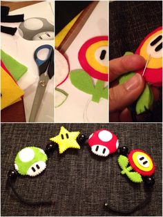 Felt Mario mobile made by me! Fun craft project, the dad loves it :)