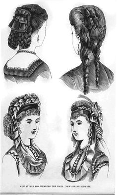 "New styles for wearing the hair"". published in The Peterson Magazine out of Philadelphia in 1870."