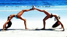 Daughter and her gymnast friend's need to do this next time we are on a beach or anywhere really!! Love it.