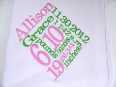 Personalized Baby Girl Birth Annoucement Blanket by flauntthename, $25.00