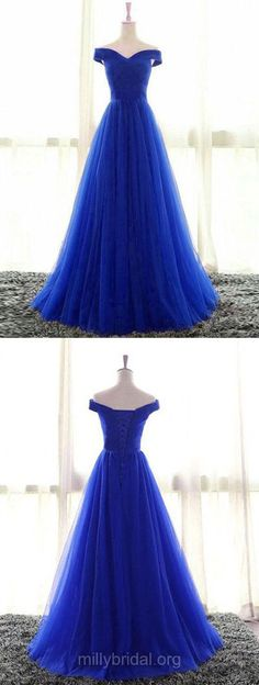 Blue Prom Dresses, Ball Gown Prom Dresses, Princess Prom Dresses Off-the-shoulder, Tulle Prom Dresses Ruffles Simple, Modest Prom Dresses For Teens #ballgowns #bluedress