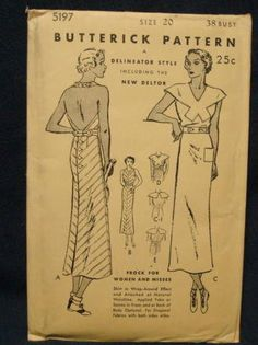 1930s Backless Halter Dress Vintage Sewing Pattern Wrap Around Skirt Butterick 5197 Bust 38 Unused FF Hollywood Regency Hollywood Glamour