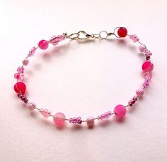 """Bracelet """"For the pretties girl in town"""" Silver bracelet pink agate Anniversary, Birthday"""